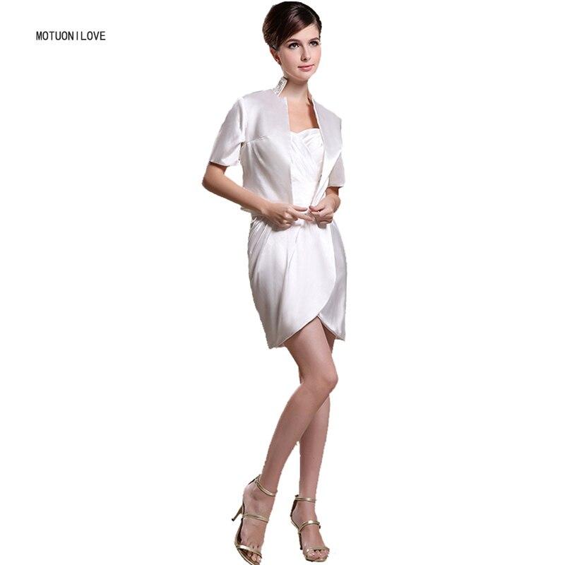 Images réelles courte mère de la mariée robes robe de marraine 2 pièces costumes avec veste Satin fête de mariage invité robe formelle