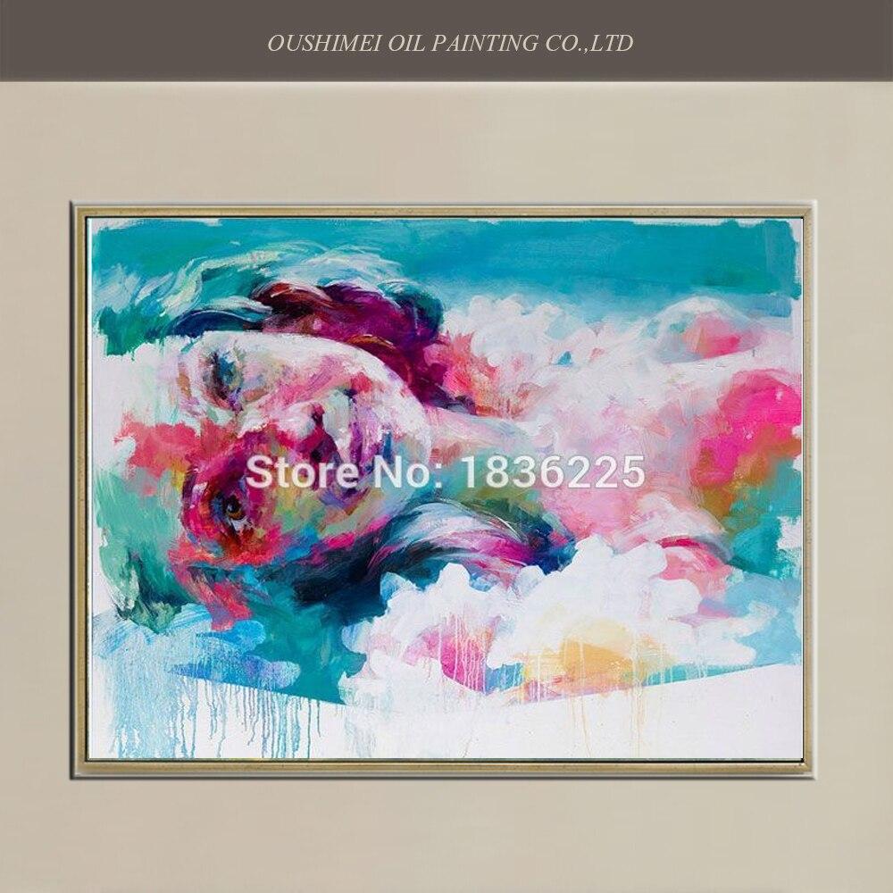 Visage coloré peint à la main par habile peintre peinture à l'huile bleue pour bureau hôtel étude salon café Bar à vin peinture murale