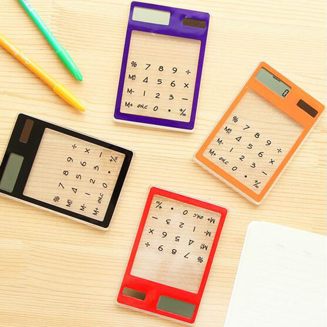 US $2 0 31% OFF|Creative Stationery Candy Solar Energy Touch Clear  Scientific Calculator Student School Office Exam Supplies Birthday Gift-in  Tool