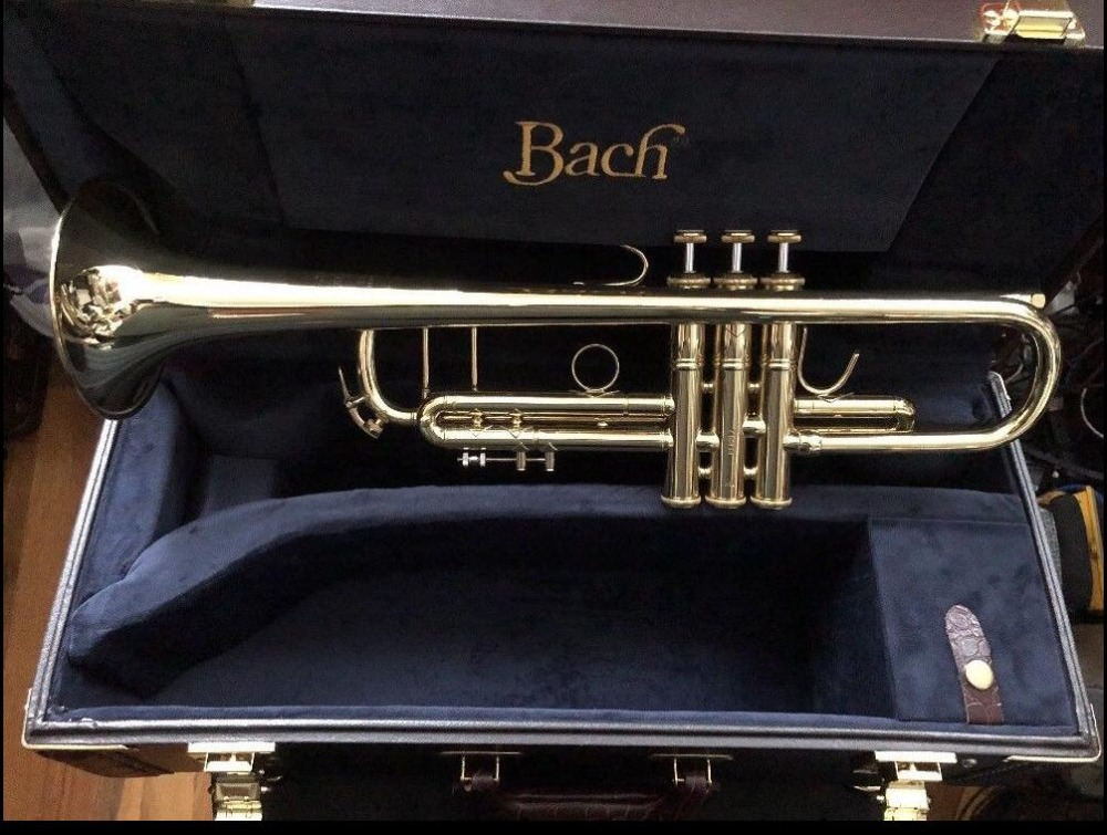 Trumpet Gold Lacquer LT180S-72 B Flat Professional Trumpet Bell Top Musical Instruments+Blue Case стоимость