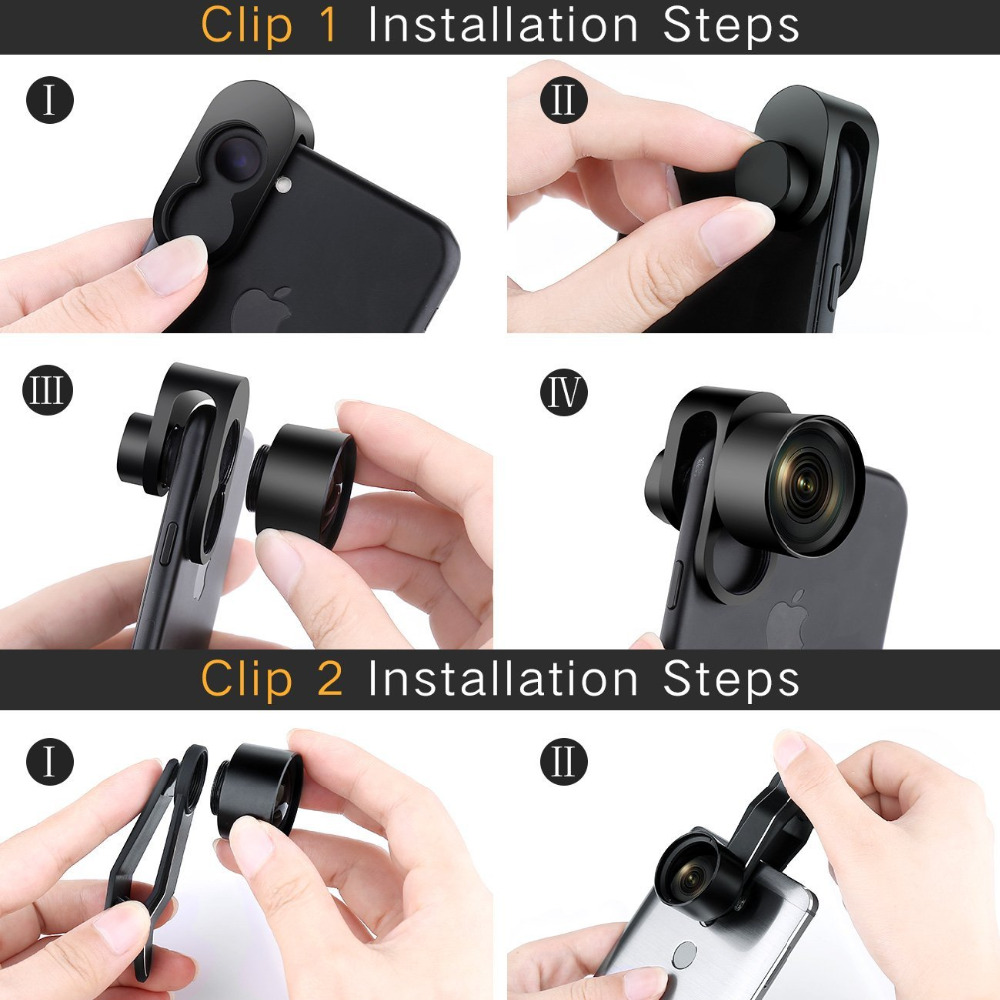 Phone camera lens 4 in 1 Camera Phone Lens Kit HD 4K Wide Angle Telescope Fisheye Marco Phone Lenses for iPhone Samsung Xiaomi in Mobile Phone Lens from Cellphones Telecommunications