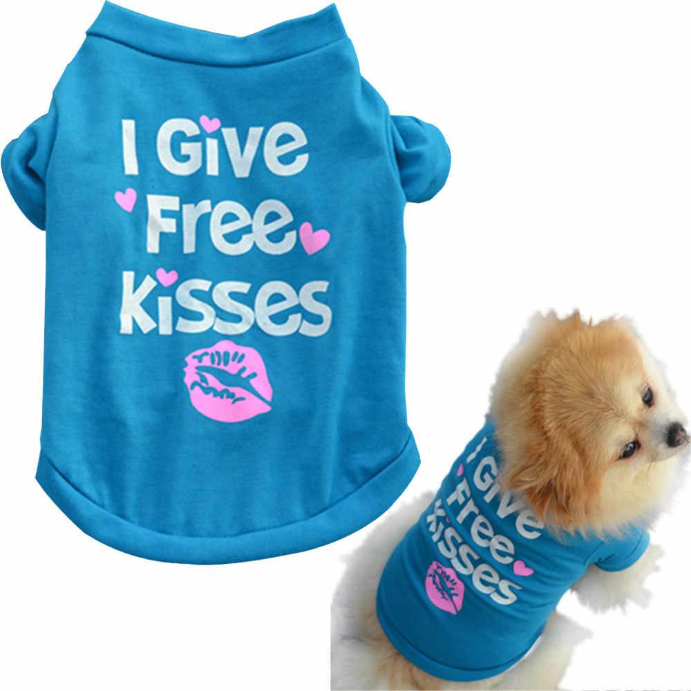 애완 동물 강아지 여름 셔츠 작은 개 고양이 애완 동물 나는 자유로운 키스를 준다 편지 인쇄 된 옷 조끼 T 셔츠 복장 개를위한 애완 동물 옷