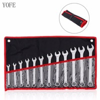 YOFE 12pcs 8mm 19mm Combination Spanner Set Professional Ratchet Wrench Tool for Installation / Maintenance