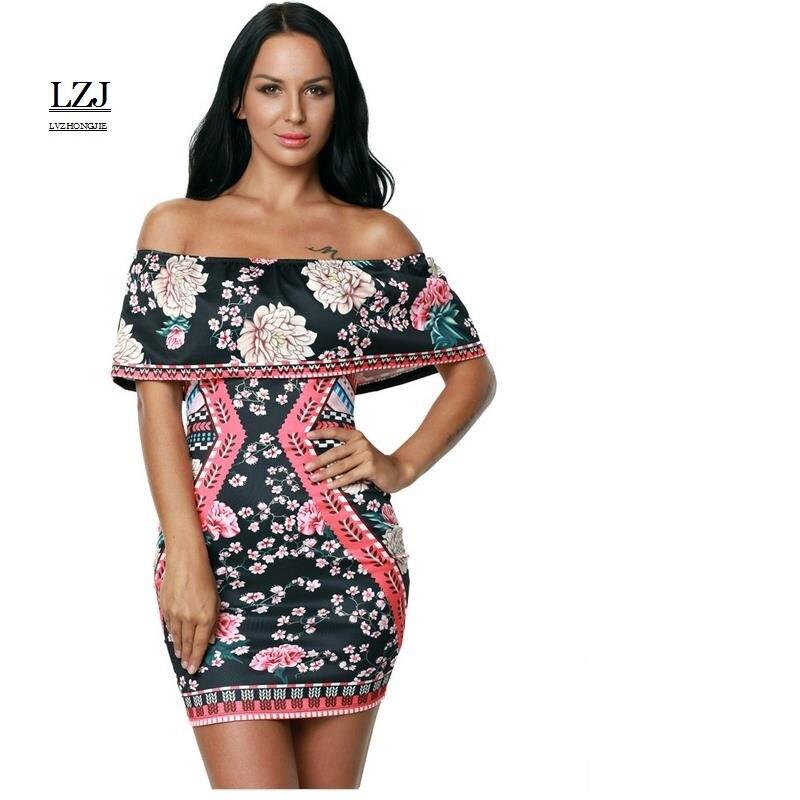 LZJ Fashion The word collar leaking shoulder sexy club ladies clothing Lotus leaf vestidos pure color printing dress plus size