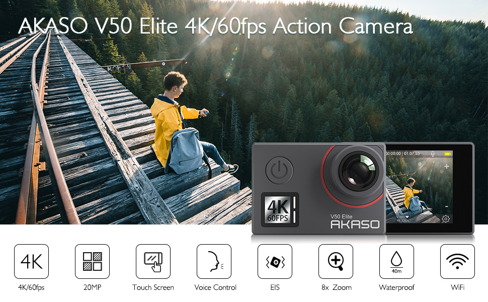 Akaso V50 Elite Sport Camera Native 4K/60fps 20MP Ultra HD 4K Action Camera WiFi Touch Screen Voice Control EIS 40m Waterproof Camera