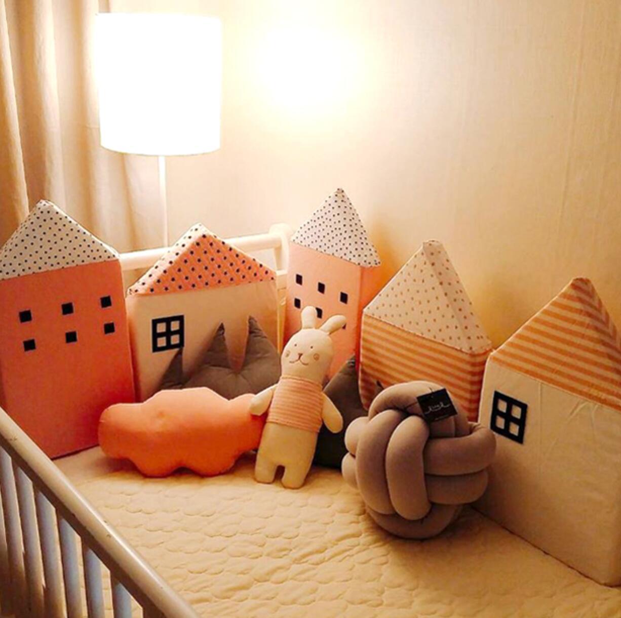 4pcs Baby Bed Bumper Nordic Style House Shape Design ...