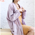 dropped shoulder batwing sleeve long cardigans top roll up hemming linen T-shirt women sun-protection blouse
