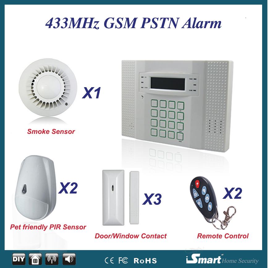 8 Wired 32 Wireless Defense Zones LCD Display Home GSM English Voice Alarm System with Door Sensor+Pet PIR+Smoke Detector wireless smoke fire detector for wireless for touch keypad panel wifi gsm home security burglar voice alarm system