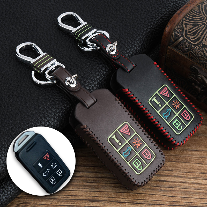 Luminous fashion Real leather Remote Car keychain 5/6 buttons Smart Key Cover Case shell for VOLVO S80L/S60L/XC60/V40/S60/V60