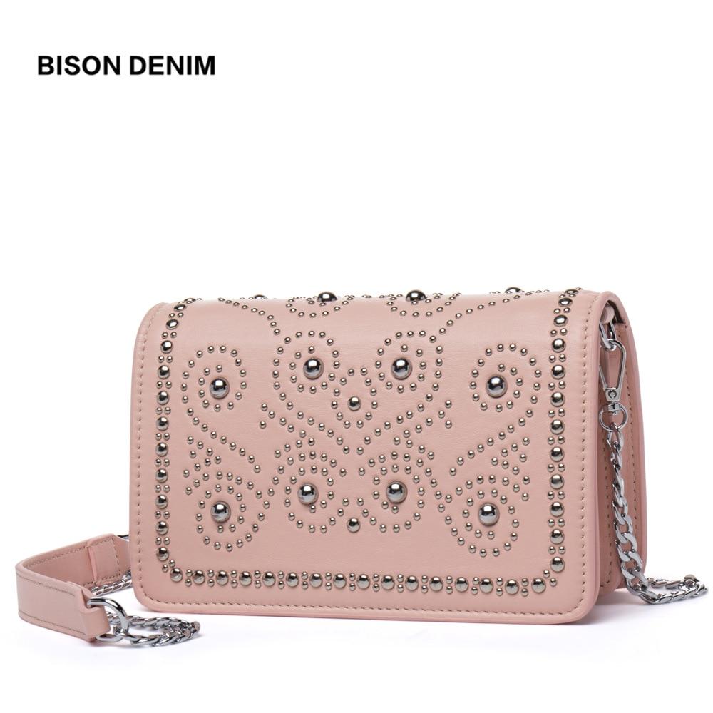BISON DENIM Rivet Leather Women Shoulder Bags Chain crossbody bags for women 2018 Fashion Messenger Bag