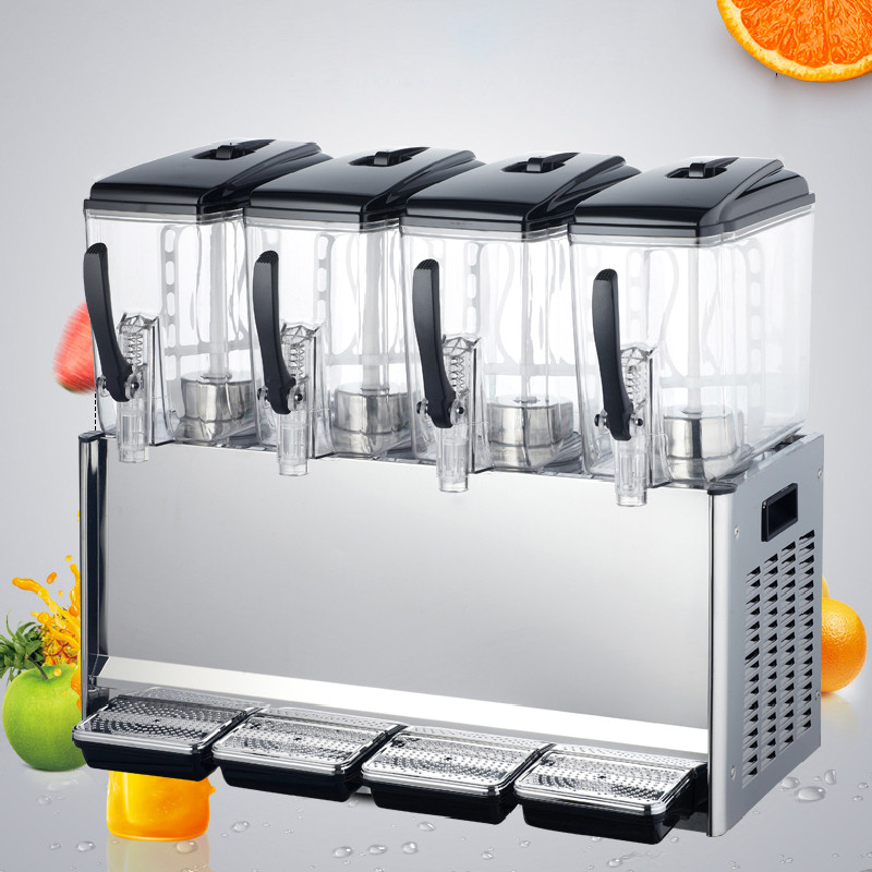Jamielin Commercial Cool & Hot Juice Dispenser 4*tanks Drink Machine Hot Milk Tea Dispense Cool Beverage Maker Juicer Machine