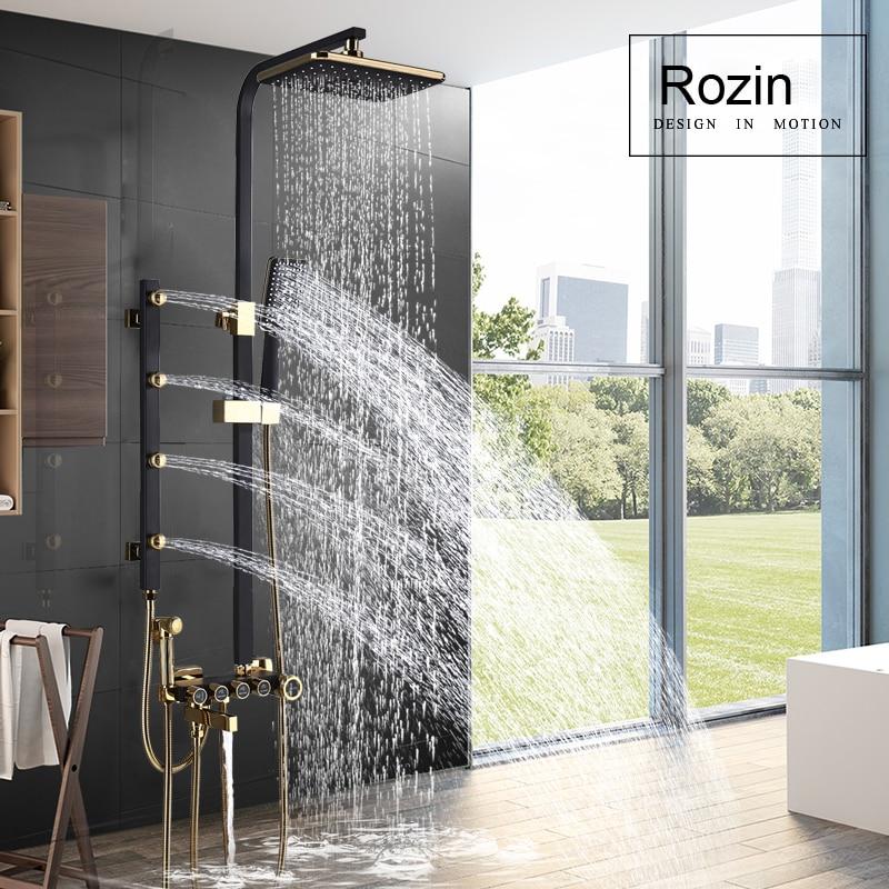 купить Bathroom Shower System Body Massage Jets Shower Faucet set Rainfall Bath Shower Mixer Tap Bidet Sprayer Head Swivel Spout недорого