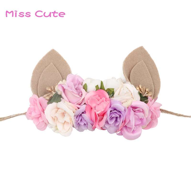 Lovely Girls Flower Headbands Handmade Rabbit Ears Headband Flower Hair Bands Bunny Ears Easter Hair Accessories Photo Prop