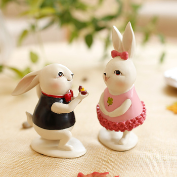 cute couple rabbits resin figurines home decor crafts animal ornament color bunny room decorations wedding decoration accessory