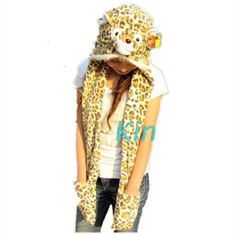 Cartoon Animals Tiger / Leopard / Cat Plush Warm Hat Cap With Long Scarf Gloves Fashion Cute Women Men Children Soft Winter Cap