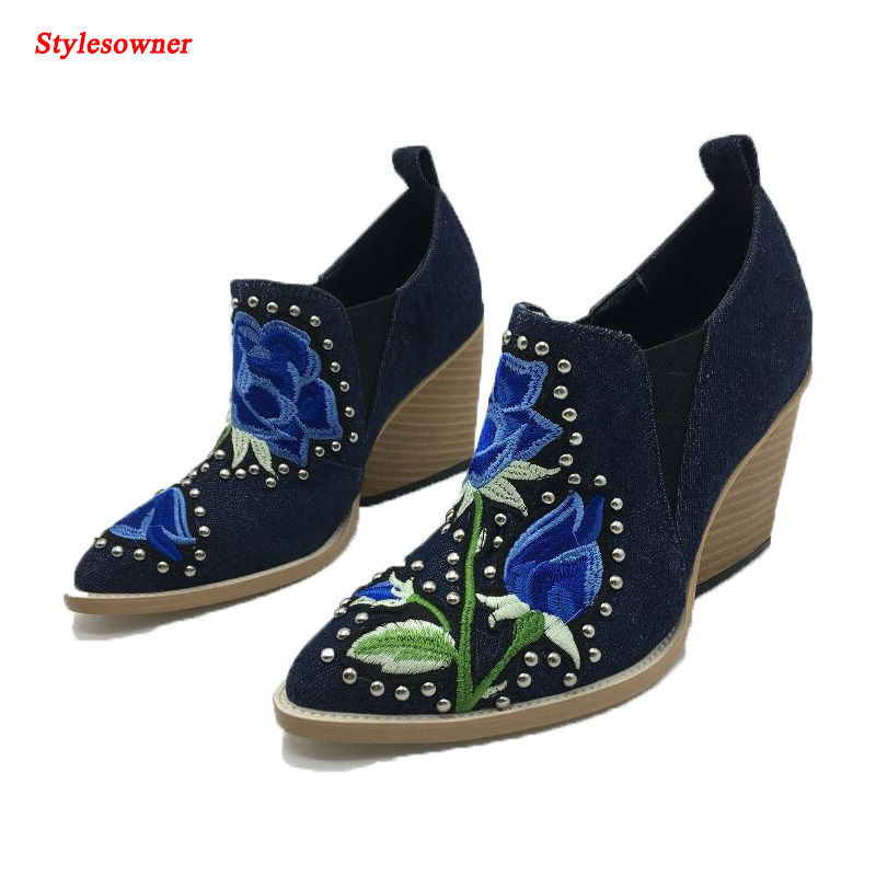 stylesowner Europe Fashion Trend Ladies Ankle Boots British Wind Retro Embroidered Strange High Heel Pointed toe Women Boot Shoe europe and the united states new handsome british wind pointed thick boots snake belt buckle especially exquisite single boot