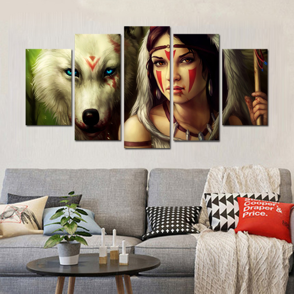 Unframed Canvas Painting Animation Wolf Girl Poster Giclee Modular Picture Prints Pictures For Living Room Wall Art Decoration