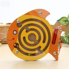 Baby magnetic bead maze toys Small Wooden animal shapes magnetics pen walking kid early educational game for children