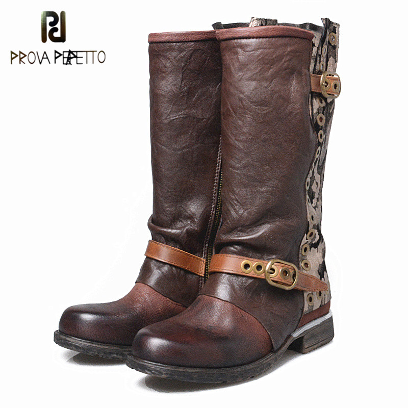 Prova Perfetto New Designer Outside Armor Retro Boots Real Leather Mixed Color Motorcycle Boots Handsome Lace Up Knight BootProva Perfetto New Designer Outside Armor Retro Boots Real Leather Mixed Color Motorcycle Boots Handsome Lace Up Knight Boot