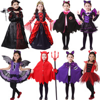 Halloween Costumes For Girls Princess Dress Kids Vampire Clothes Cosplay Bat Set For Party Outfit Boys