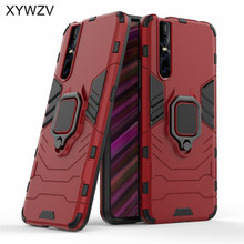 Vivo V15 Pro Case Shockproof Cover Hard PC Armor Metal Finger Ring Holder Phone For
