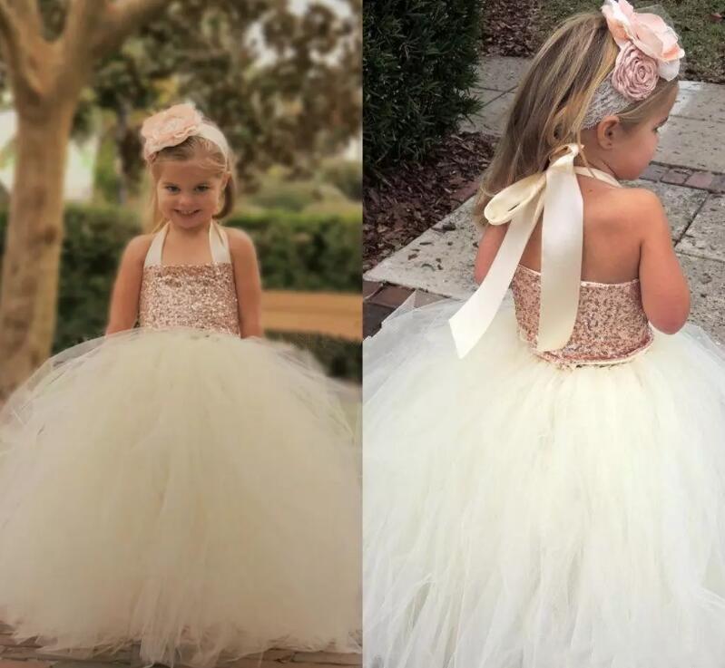 Cute 2017 Flower Girl Dresses Bling Bling Rose Gold Sequin Halter Tutu Ball Gown Cheap Custom Made Little Girls Pageant Dress