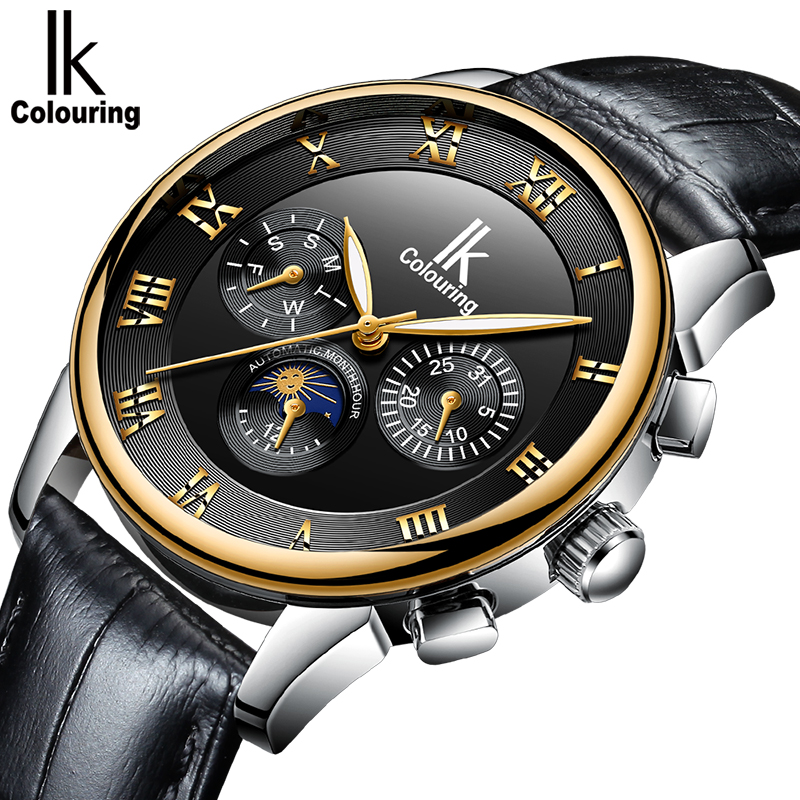 Top Men Watches IK Colouring Luxury Brand Stainless Steel Automatic Mechanical Watches Men Moon Phase Watches Luxury Men WatchesTop Men Watches IK Colouring Luxury Brand Stainless Steel Automatic Mechanical Watches Men Moon Phase Watches Luxury Men Watches
