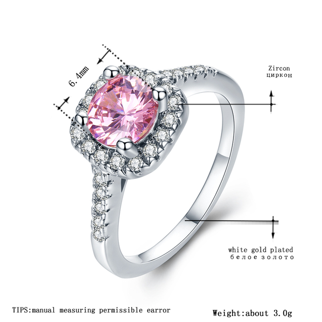 MDEAN White Gold Color Wedding Rings for Women Bijoux Ring Pink AAA Jewelry Bague Accessories Size 5 6 7 8 9 10 11 12 H066