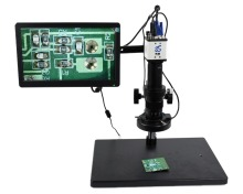 Full Set 1080P Industrial Microscope Camera HDMI USB Outputs with 200X C-mount Lens 56 LED Light Microscope 8 HD LCD Screen