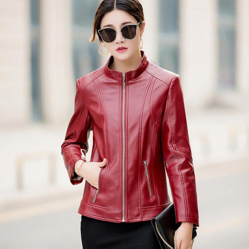 Coats Female 2018 Design Spring Autumn PU   Leather   Jacket Faux Soft   Leather   Coat Slim Black Rivet Zipper Motorcycle black Jackets