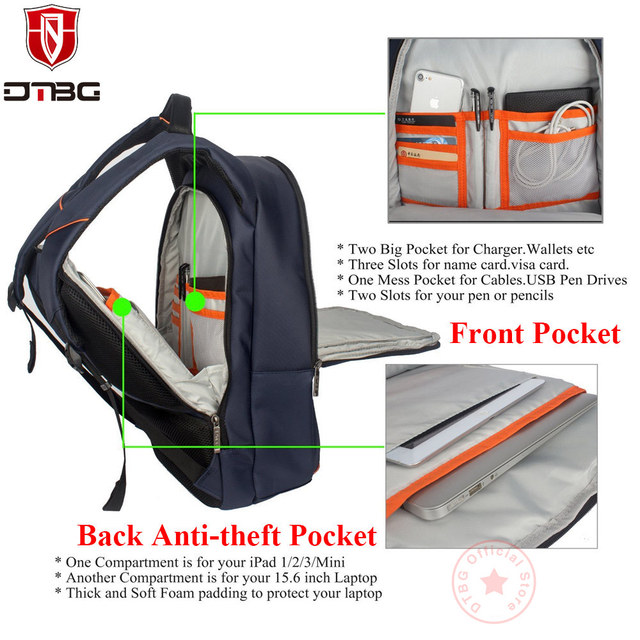 Anti-theft 15.6 Inch Backpacks with External USB Port