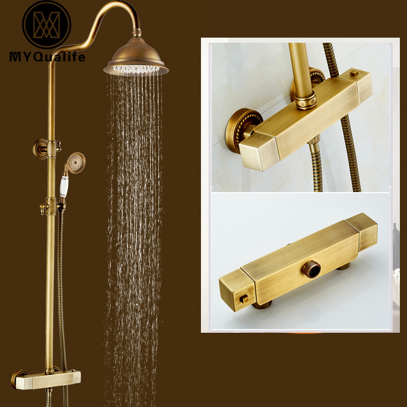 Antique Brass Thermostatic Mxer Valve Shower Set Dual Handle In-wall Shower Faucet Mixer Taps 8 Rain with Handshower polished chrome wall mount temperature control shower faucet set brass thermostatic mixer valve with handshower