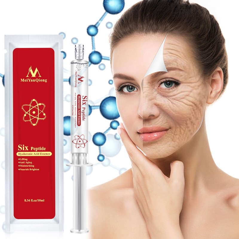 Six Peptide Hyaluronic Acid Essence Anti Aging Anti Wrinkle Lifting Face Serum Repair Concentrate Rejuvenation Face Skin Care