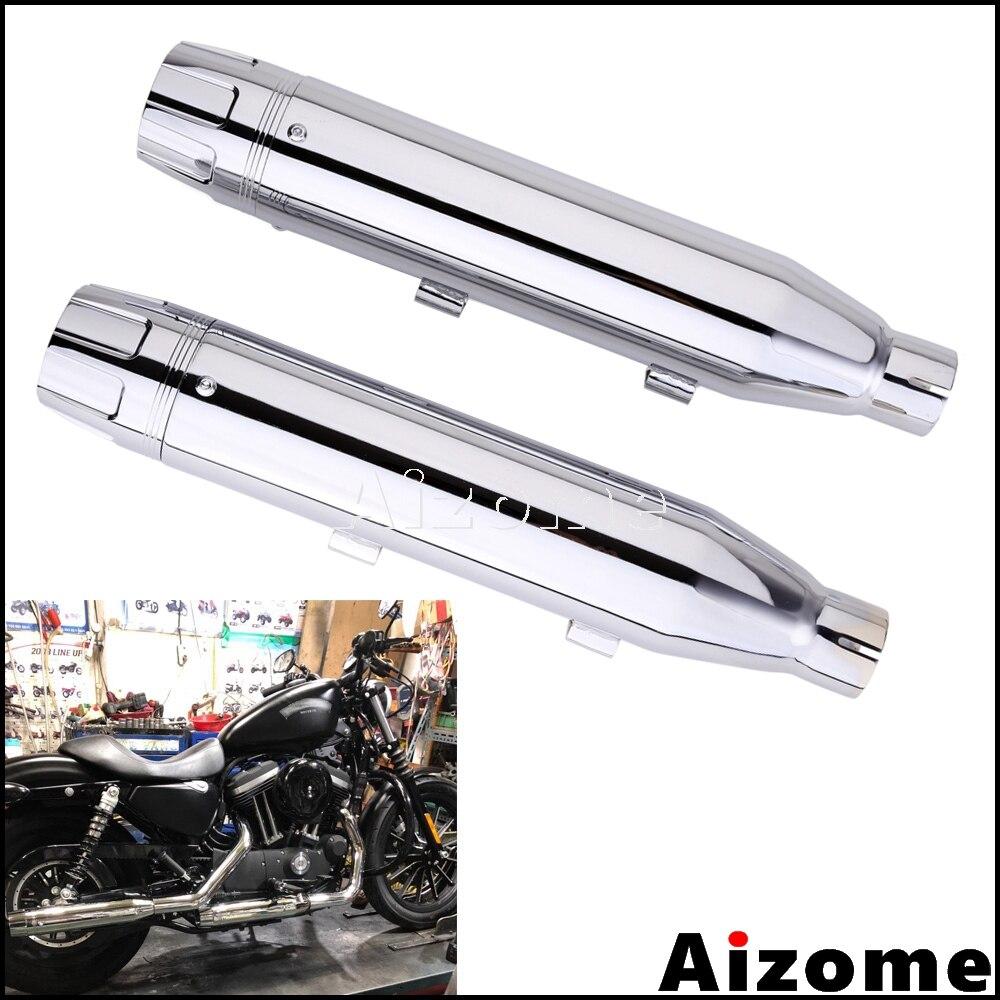3 Slip-On Exhaust Muffler Pipe W// Racing Cap For Harley Sportster 883 Super Low