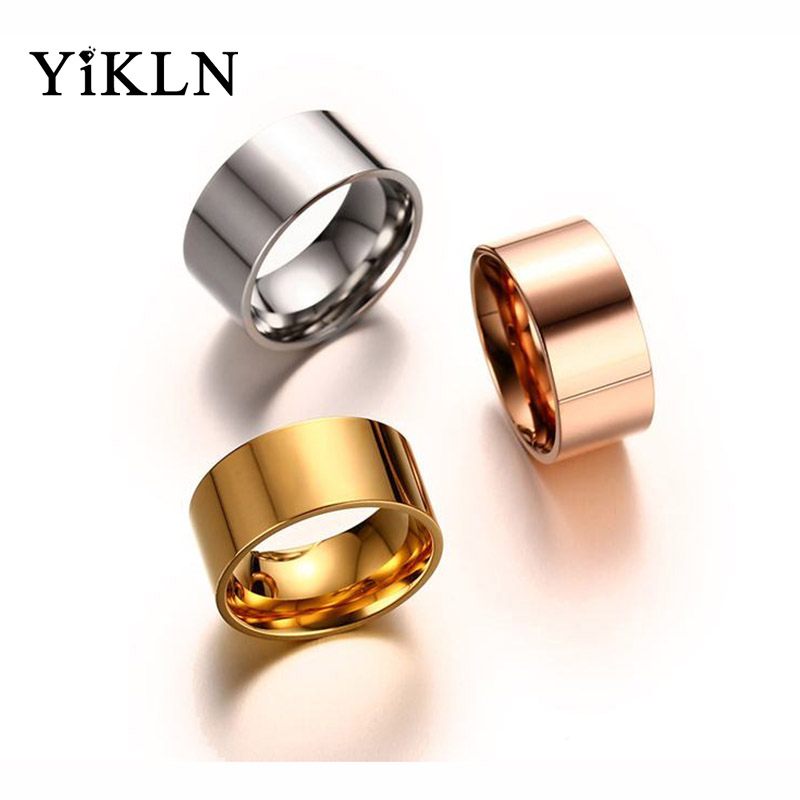 YiKLN Simple Design 10MM Wide Stainless Steel Rings Trendy Rose Gold/Silver/Gold Color Wedding Ring Jewelry For Women Men YR340