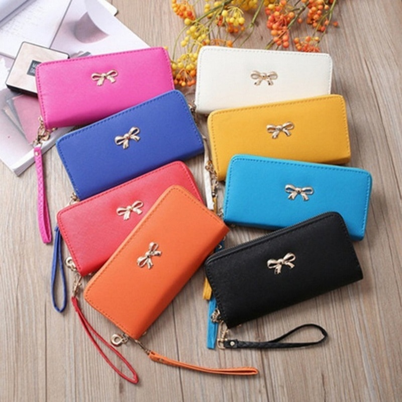 MoneRffi New Style Young Fashion Women's Leather Bowknot Long Clutch Purse