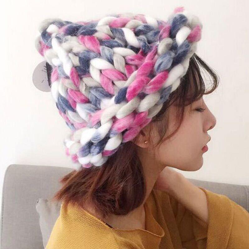 ᗛVersión coreana Aran peso color mezcla casquillo hecho punto hecho ...