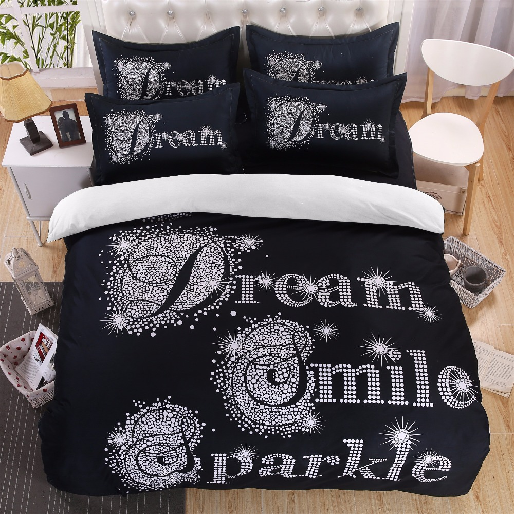 Black And White Dream Smile Bedding Set Sparkle Print 4 Pieces Duvet Cover Cotton Polyester Comforter Bedsheet In Sets From Home