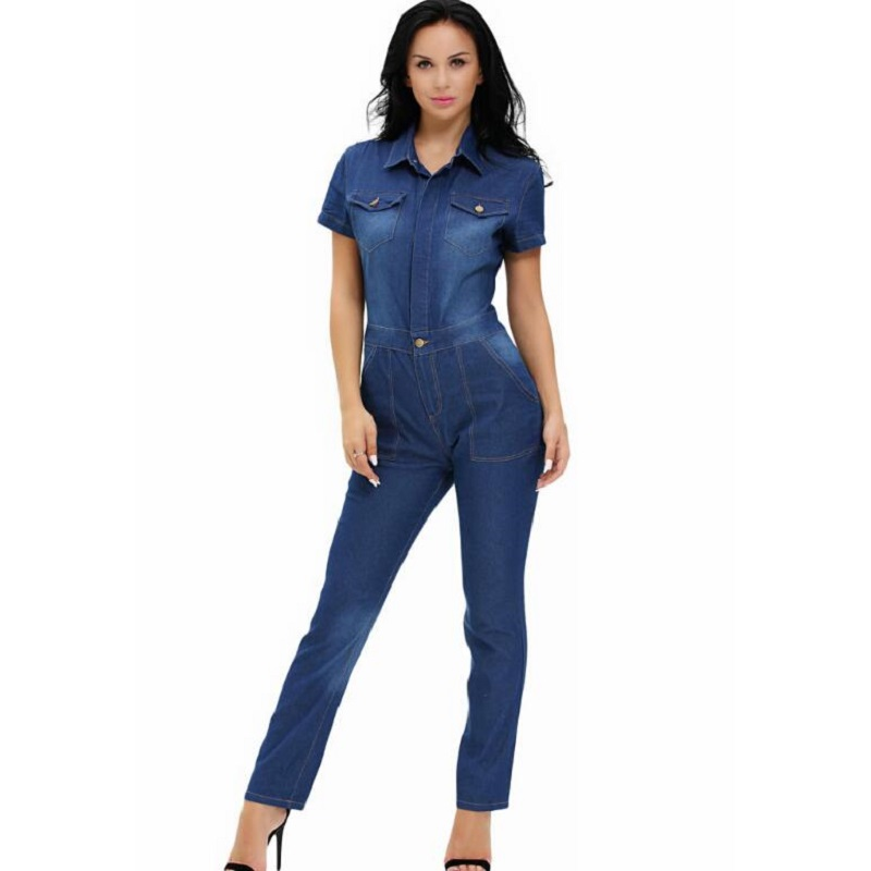 Sexy Jeans Style Rompers Dark Denim Button Down Jumpsuit ...