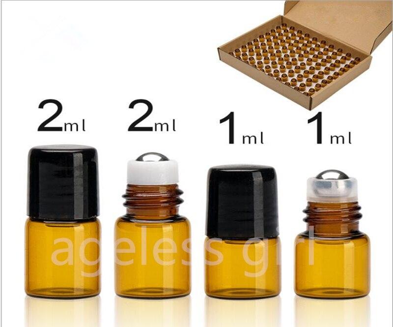 100 pièces 1ML 2ML Mini rouleau de verre Portable bouteilles d'huile essentielle voyage bouteille rechargeable Transparent brun petit échantillon bouteilles