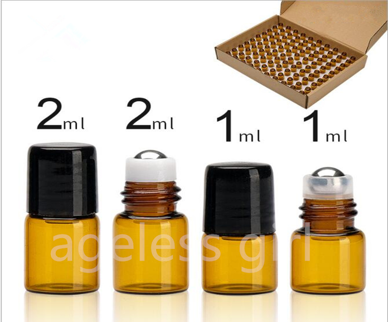 100PCS 1ML 2ML Mini Portable Glass Roller Essential Oil Bottles Travel Refillable Bottle Transparent Brown small sample bottles100PCS 1ML 2ML Mini Portable Glass Roller Essential Oil Bottles Travel Refillable Bottle Transparent Brown small sample bottles