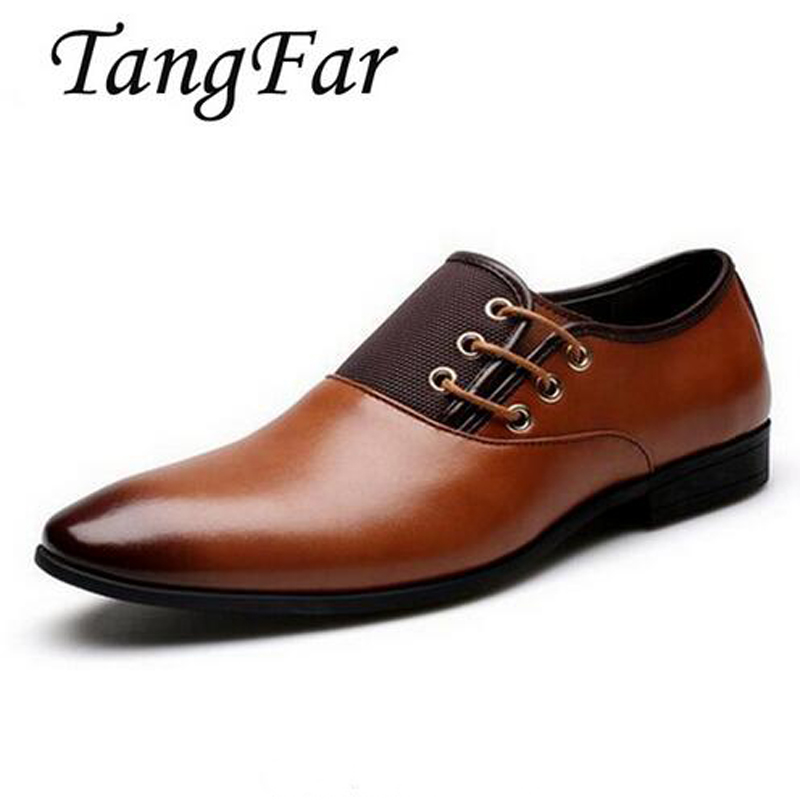 New Men Formal Shoes Pointed Toe Big Size 45 46 47 Men Business Dress Leather Shoes Solid Male Flats High Quality