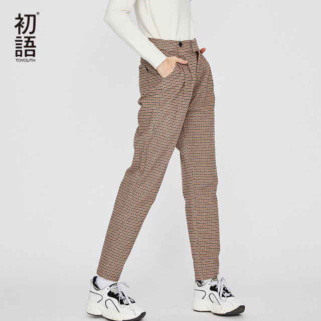 Toyouth Loose Casual Pants Embroidery Plaid Letters Women Pants Straight Trousers Pantalone Mujer Classic Button Pantalon Mujer