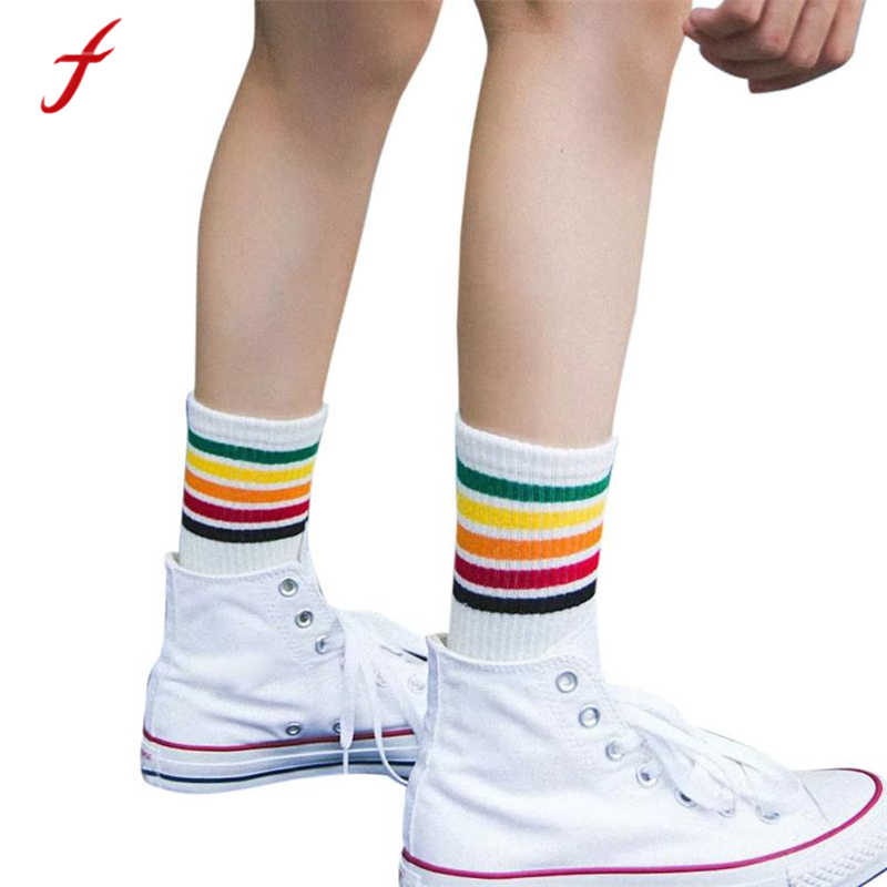 feitong 2018 New Fashion Women Socks Rainbow Striped Print Cotton Warm Soft Harajuku Autumn Socks