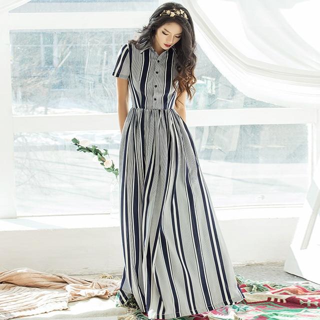37490b0abc3 VERRAGEE Brand big size dress xxl women striped maxi dress gray long  Patchwork summer new button dress
