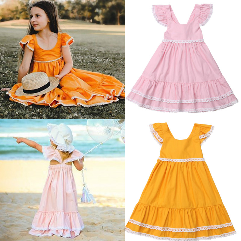 d3908d6b322 2019 Summer Kid Baby Girl Boho Maxi Dress Lace Ruffles Short Sleeve Party  Beach Princess Dresses