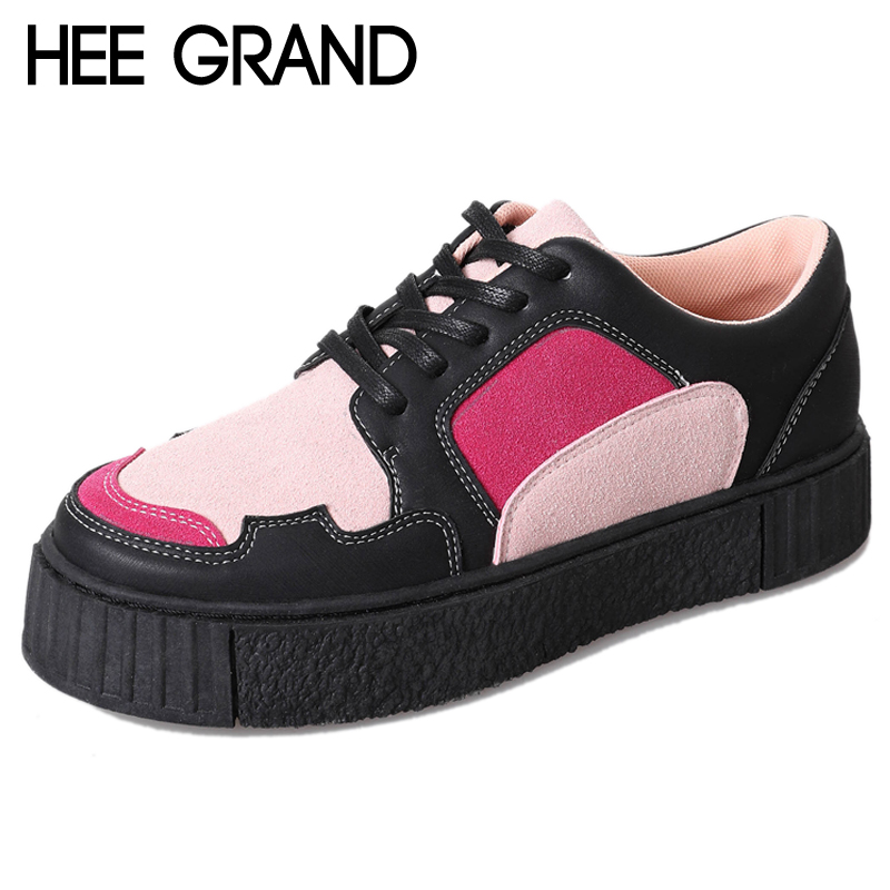 цены HEE GRAND Platform Shoes Woman Mixed Colors Creepers Oxfords British Style Women Cut-Outs Flats Casual Women Shoes XWD7005