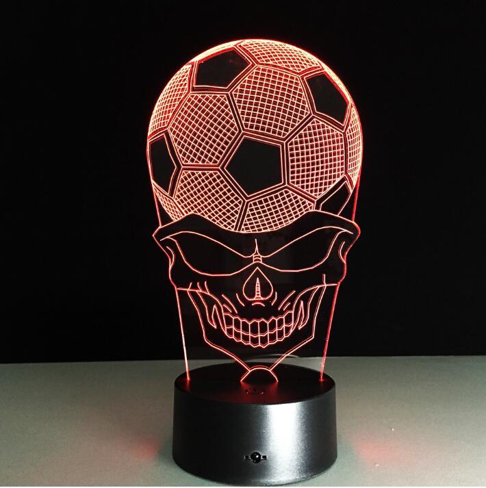 Creative 3D Desk Lamp Football Skull Led Night Light Lampada de Parede Xmas Gift Table Lamp Novelty bedroom sleeping Lighting