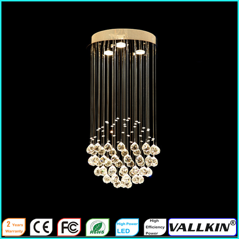 LED Crystal chandeliers Ceiling Hanging Lamp Fixtures for Indoor Home Cafe D30CM H60CM CE FC ROHS VALLKIN  vallkin round led crystal pendant light hanging lamp fixtures for bar cafe ac110 240v k9 crystal lamp ce fcc rohs d40cm d60cm
