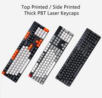 104 Keys Thick PBT Dolch Carbon Laser Keycap OEM Profile Keycaps Set Top Printed Side Printed for Cherry MX Mechanical Keyboard
